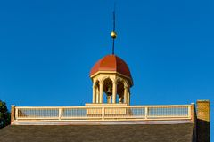 New Castle Court House. New Castle, DE, USA - September 23, 2015: The spire on top of the Court House, Delaware`s colonial capitol, was used as the center of the stock images