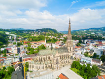 Linz New Cathedral, Austria. New Cathedral or Cathedral of the Immaculate Conception or St. Mary Church aerial panoramic view. It is a Roman Catholic cathedral Stock Photography