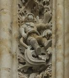 An astronaut on the facade of the cathedral. In the new cathedral of Salamanca hides an strange anachronism: camouflaged between the floral decoration that Royalty Free Stock Photos