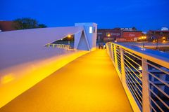 New catwalk over Motlawa river in Gdansk at dusk. GDANSK, POLAND - JUNE 21, 2017: New catwalk over Motlawa river in Gdansk at dusk, Poland. Gdansk is the Royalty Free Stock Photos