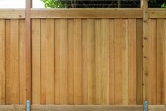 New Cedar Wood Fencing Front View around house royalty free stock photography