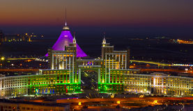 New center of the city in Astana. Night color lights of New center of the city in Astana Royalty Free Stock Photos