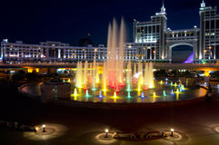 New center of the city in Astana. Night color lights of New center of the city in Astana Stock Photo