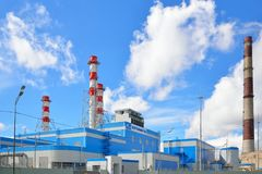 New Central thermoelectric power plant next to the old Rybinsk o Stock Photos