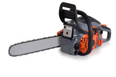 New chainsaw. On a white background stock photo