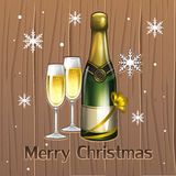 New champagne. Illustration of new Christmas champagne Royalty Free Stock Images
