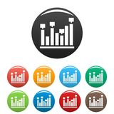 New chart icons set collection circle. New chart icons set in simple style many color circle isolated on white background Stock Images