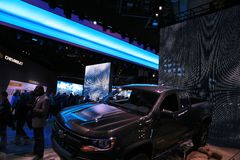 New 2018 Chevy Truck on Display at the North American International Auto Show Stock Photos