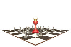 The new chief (chess metaphor). Many chess pieces and red pawn-king on a white background isolation Stock Images