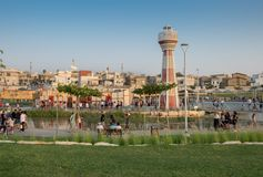 New child amusement park at Beer-Sheva city. South Israel. BEER-SHEVA, ISRAEL - JULY 22, 2017: New child amusement park at Beer-Sheva city. South Israel royalty free stock images