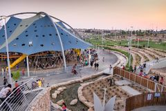 New child amusement park at Beer-Sheva city. South Israel. BEER-SHEVA, ISRAEL - JULY 22, 2017: New child amusement park at Beer-Sheva city. South Israel stock photos