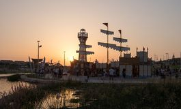 New child amusement park at Beer-Sheva city at sunset time. South Israel. BEER-SHEVA, ISRAEL - JULY 22, 2017: New child amusement park at Beer-Sheva city at stock photo
