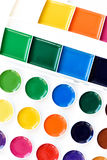 New children& x27;s watercolor paints isolated on white Royalty Free Stock Photos