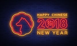 New Chinese Year 2018 Greeting Card Vector. Neon sign, a symbol on winter holidays. Happy New Year Chinese 2018. Neon. Sign, bright flyer, night shining Royalty Free Stock Photo