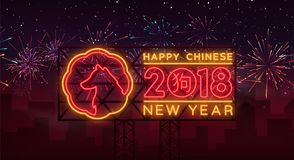 New Chinese Year 2018 Greeting Card Vector. Neon sign, a symbol on winter holidays. Happy New Year Chinese 2018. Neon. Sign, bright flyer, night shining Stock Photos