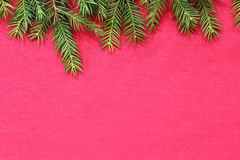 New Christmas background with real pine tree branches Stock Photography