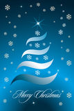 New christmas card. Christmas with snowflakes, shining stars and lines one blue background royalty free illustration