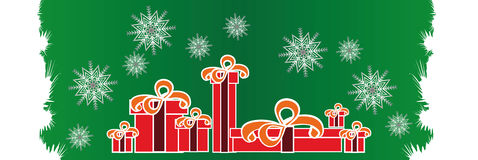 New Christmas decorations on festive ribbons Royalty Free Stock Image