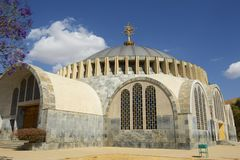 The new church of Our Lady Mary of Zion, the most sacred place for all Orthodox Ethiopians. Aksum, Ethiopia. Stock Photos
