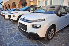 New Citroen cars in the street royalty free stock photography