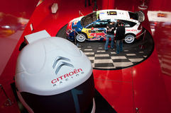 New Citroen Racing Rally Car, Paris, Champs Elysee. Rally car, racing display at the Citroen Champs Elysee, Paris auto showroom Stock Photos