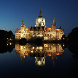 New City Hall in Hannover Germany at night Royalty Free Stock Photo