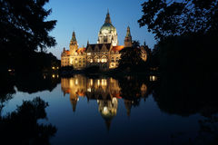 New City Hall in Hannover Germany at night Royalty Free Stock Photography