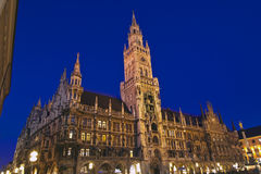 New city hall in Munich. The night scene of town hall at the Marienplatz in Munich, Germany Stock Photography