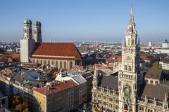 New City Hall of Munich at Marienplatz and the Frauenkirche, Ger Royalty Free Stock Images