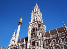 New city hall of Munich and Mariensaeule Royalty Free Stock Photo