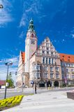 The New City Hall of Olsztyn with Polish and UE flags on the tower. royalty free stock photo