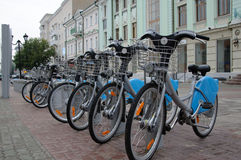 New city transport. Bicycle rent in Kazan Royalty Free Stock Photography