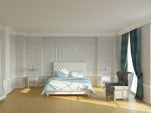 New classic bedroom with fireplace and window royalty free stock images