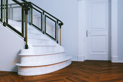 New classic interior with closed door and marble staircase. 3d r Stock Image