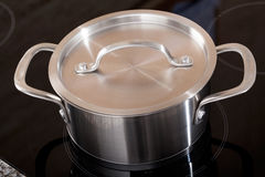 New clean aluminum pot in shot from above Stock Image