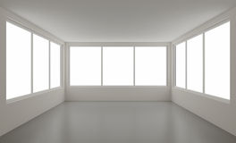 New clean interior, with clipping path for windows. 3d illustration Stock Images