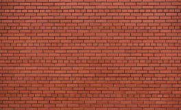 New and clean red brick wall. Shooted on cloudy day, almost no shadows royalty free stock photos