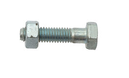 New and clean single bolt and nut isolated on white Stock Photo