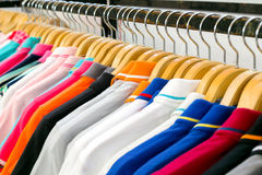 New clothes colorful in a shop store. Royalty Free Stock Photo
