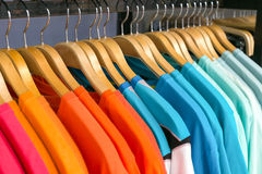 New clothes colorful in a shop store. Royalty Free Stock Photos