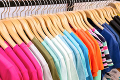 New clothes colorful in a shop store. Stock Photo