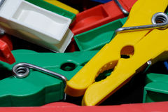 New clothes peg. A couple of brand new plastik clothes peg royalty free stock images