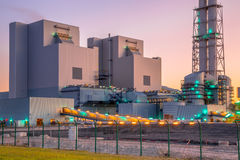 New coal and biomass powered plant. Detail of the powerhouse of a modern power plant fueled with coal and biomass royalty free stock photos