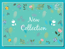 New collection inscription with floral background Stock Photography