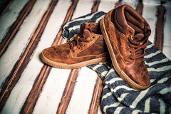 A new collection of men's shoes Royalty Free Stock Photography