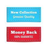 New Collection and Money Back Tag Badges. In Blue and Red Vector Illustration
