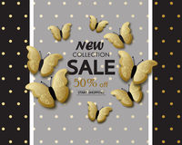 New collection sale banner background template with beautiful golden butterflies. Vector illustration. Royalty Free Stock Photography