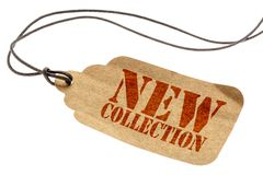 New collection tag price. New collection sign - a paper price tag with a twine isolated on white stock images