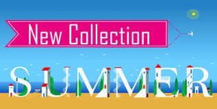 New collection. Summer. Artistic font Royalty Free Stock Photo