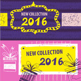 New collection 2016. Web Banner, Header Layout Template for shop. Handdrawn design elements Stock Photos